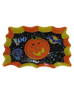 Bandeja plástica impresa con borde en amarillo y naranja