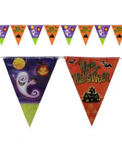 Banderola holográfica de Halloween con casa y fantasma