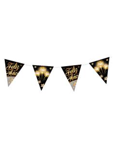 Bandelora metalizada Feliz Año en tira por 11 banderines