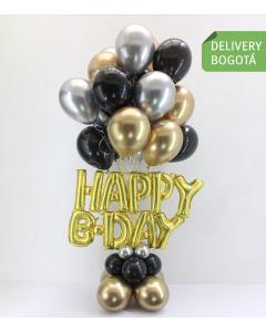 Bouquet grande de globos con Helio en dorado, plata y negro, con las letras de Happy BDay en Dorado y base en globos