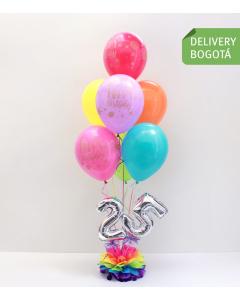 Bouquet de 7 globos en colores vivos y números