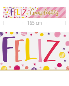 Cartel Metalizado Jumbo, Feliz Cumpleaños, Destellos
