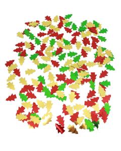 Confetti de mesa en forma de arbolito navideño en colores dorado, rojo y verde metalizados