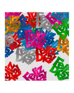 Confetti de mesa feliz día en colores surtidos metalizados
