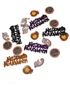 Confetti de mesa mixto con texto Happy Halloween y figuras en cartón