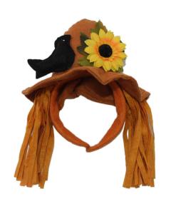 Diadema con un sombrero de espantapájaros con una flor y un cuervo