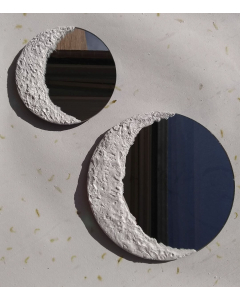 Espejos redondo con fase lunar menguante hechos a mano