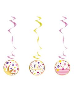 Espiral Feliz Cumpleaños, Destellos x 3 unds