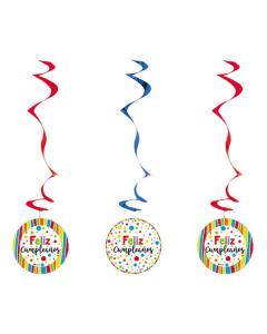 Espiral Feliz Cumpleaños, Puntos Multicolor x 3 unds