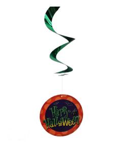 Espiral plástico verde y naranja con figuras de Halloween impresas