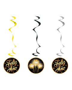Espiral Feliz Año en cartón por 3 unidades