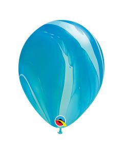 Globo azul, superagate o marmolizado 11 pulgadas redondo de látex