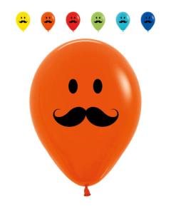 Globo impreso carita feliz con bigote en tonos fashion r-12