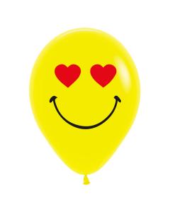 Globo Carita Feliz con Ojos de Corazón, Amarillos Fashion R-12 por Unidad