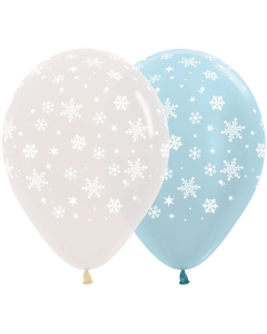 Globo Infinity Copos de Nieve, Transparente y Azul Satín R-12 x Und