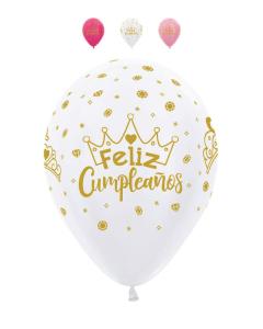 Globo Feliz Cumpleaños Coronas Infinity Colores Sati y Metal R-12 por Unidad