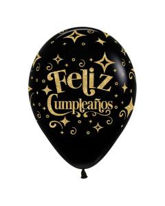 Globo Feliz Cumpleaños Escarchado Diamante Dorado Infinity Negro Fashion R-12 por Unidad