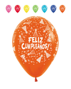 Globo infinity feliz cumpleaños gorritos