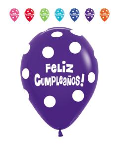 Globo infinity feliz cumpleaños puntos polka blancos