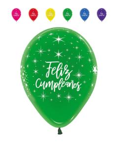 Globo Feliz Cumpleaños Radiante Infinity Colores Cristal R-12 por Unidad