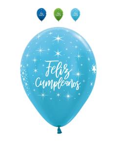Globo Feliz Cumpleaños Radiante Infinity Niño Surtido Sati y Metal R-12 por Unidad