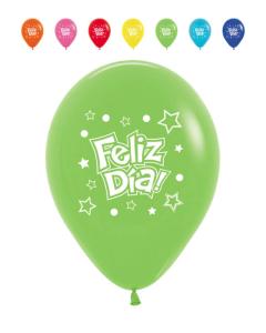 Globo impreso feliz día con estrellas en tonos fashion r-12