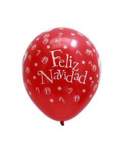 Globo infinity con cabezas de Papá Noel, texto de Feliz Navidad y regalos