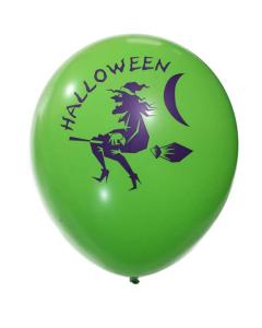 Globo verde lima fashion impreso con Halloween y bruja voladora R-12