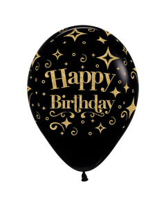 Globo Happy Birthday Escarchado Diamante Dorado Infinity Negro Fashion R-12 por Unidad