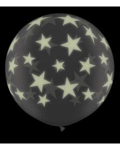 Globo cristal de látex gigante de 3' o 91 cm de diámetro con estrellas glow