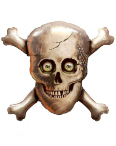 Globo calavera con huesos cruzados