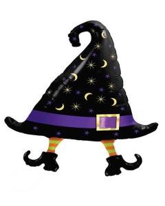 Globo gorro de bruja con patas