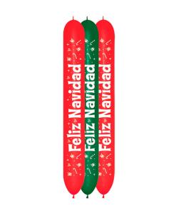 Paquete globosgramas de Feliz Navidad por 3, en colores verde y rojo fashion LOL660