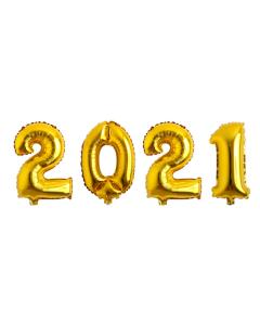 Globos Econo con los Números 2021 Dorados Microfoil 32 cm