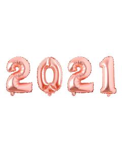 Globos Econo con los Números 2021 Dorado Rosa Microfoil 32 cm