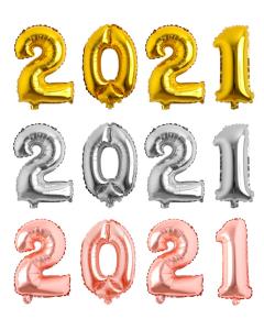 Globos Econo de Números 2021 en Dorado