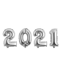 Globos Econo con los Números 2021 Plateado Microfoil 32 cm