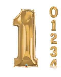 Globos grandes en forma de números del 0 al 9 en color dorado y 34 pulgadas de alto