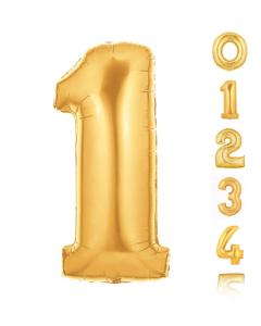 Globos pequeños en forma de números del 0 al 9 en color dorado y 7 pulgadas de alto