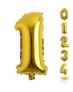 Globos medianos econo en forma de números del 0 al 9 en color dorado y 16 pulgadas de alto