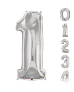 Globos grandes en forma de números del 0 al 9 en color plata y 34 pulgadas de alto