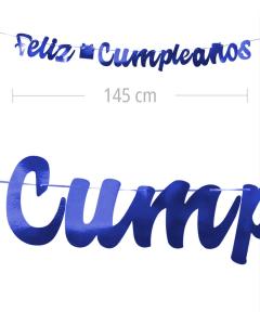 Aviso de Feliz Cumpleanos en letra cursiva y color azul metalizado de 145 cm de ancho