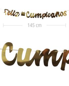 Aviso de Feliz Cumpleanos en letra cursiva y color dorado metalizado de 145 cm de ancho