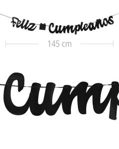 Aviso de Feliz Cumpleanos en letra cursiva y color negro textura metalizado de 145 cm de ancho