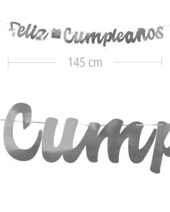 Aviso de Feliz Cumpleanos en letra cursiva y color plateado metalizado de 145 cm de ancho