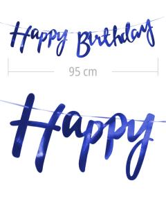 Aviso de happy birthday en letra cursiva y color azul metalizado de 95 cm de ancho