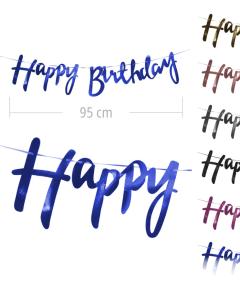 Guirnalda con texto happy birthday en colores con brillo espejo