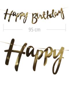 Guirnalda Happy Birthday Dorada Espejo, Cusiva en Cartón 95 cm