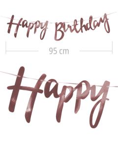 Aviso de happy birthday en letra cursiva y color rosada metalizado de 95 cm de ancho