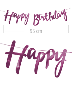 Aviso de happy birthday en letra cursiva y color fucsia metalizado de 95 cm de ancho